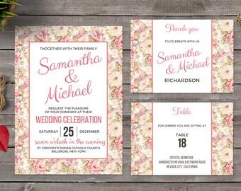 Printable Vintage flowers Wedding Invitation Template. Vintage Floral Wedding Invitation. Wedding Invitation Set. Vintage Wedding Invitation