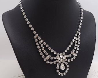 Classic Beautiful Vintage 1950's Sparkling Clear Paste Swag Necklace Wedding Jewellery