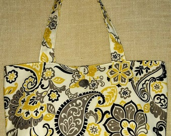 Floral Tote Bag Chevron Tote Bag Gray and Yellow Tote Bag Yellow Chevron Tote Bag Cotton Tote Bag Large Tote Bag Overnight Bag Beach Bag