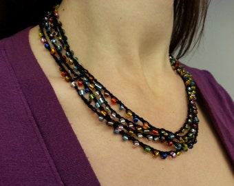 Glass Bead Crochet Wrap Necklace /  Bracelet - 8 Feet Long