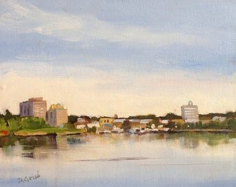 Small Art - Barrie Waterfront - 10x8 oil painting - SHIPPING Included