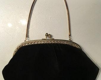 Vintage 1960s Black Velvet Evening Bag Purse Clutch Gold Detail