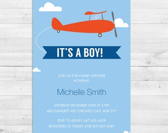 Baby Shower Invitation Boy, Airplane, Vintage Airplane,  Blue, Grey, Red, Vintage, It's A Boy