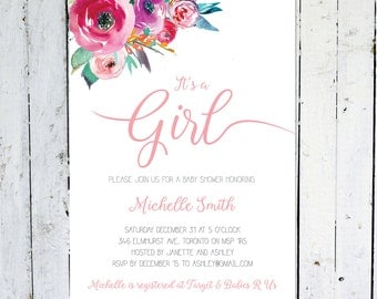 Baby Shower Invitation Girl, It's A Girl, Floral Baby Shower Invitation, Pink, Watercolor Baby Shower Invitation