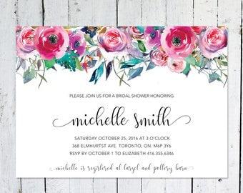 Bridal Shower Invitation, Floral, Watercolor, Colorful, Leaves, Horizontal, Printable, Printed, Bridal Shower Invite