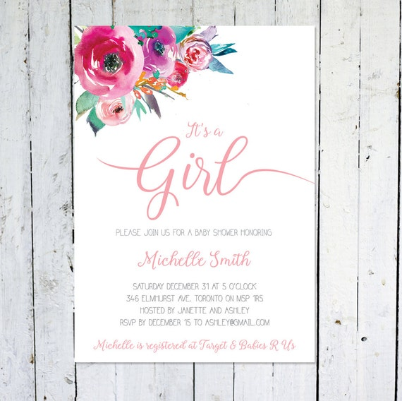Baby shower invitation girl its a girl floral baby like this item stopboris