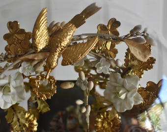 Rare Antique French 19th Wedding Dome tiara Wax flowers Orange blossom bridal crown. Porcelain flowers!