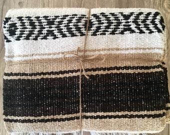Mexican Throw Blanket -  Beige, Brown, Black & White Aztec Design