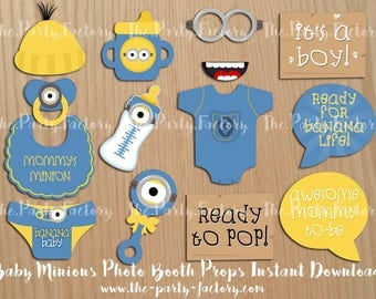 minions baby shower photo booth props instant download digital file