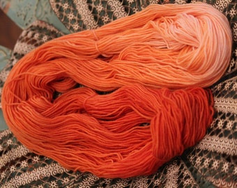 Orange Merino Wool Sport Weight Yarn Hand Dyed 400 Yards 4 Ounces