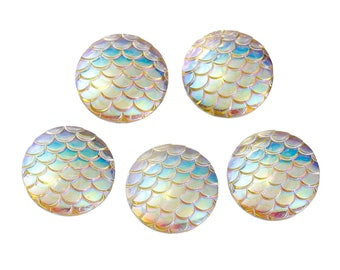 20 mm Acrylic Mermaid Scales Cabochons - Pack of 10 (1433)