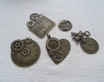 Set of 5 Steampunk Charms, Antique Bronze Finish  (1251)