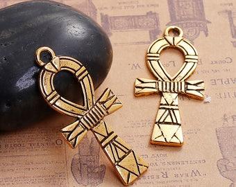 2 Antique Gold Egyptian Ankh Pendants 41 x 19mm (B190g/260h)