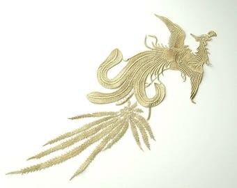 Golden Phoenix Asian Chinese  Embroidered Sew On Dress Patch Applique
