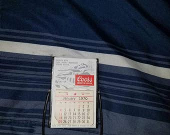 Coors 1970-1971 mini calendar withstand and Mirror  on the back side