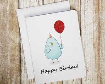Birthday Card, Bird Card, Funny Birthday Card, Funny Card, Bluebird Card, Birthday Puns