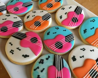 Music Theme Sugar Cookies.  Guitar Cookies. Rockstar cookies.  Makes great favors for music theme party. Order is for one dozen (12) cookies