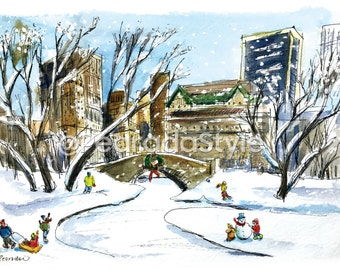 Central Park in the Winter Print