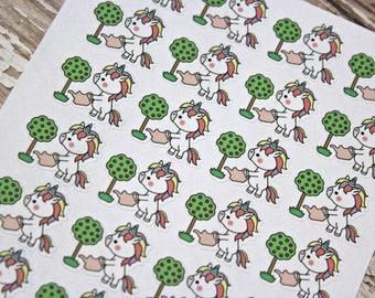 Unicorn Stickers - Unicorn Planner Stickers - Character Stickers - Chore Sticker - Kawaii Unicorn Sticker - Unicorn Gardening - water plants