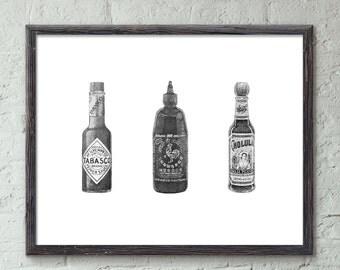 "Hot Sauces - 11x14"" Limited Edition Fine Art Digital Giclee Print with Tabasco, Cholula, and Sriracha"