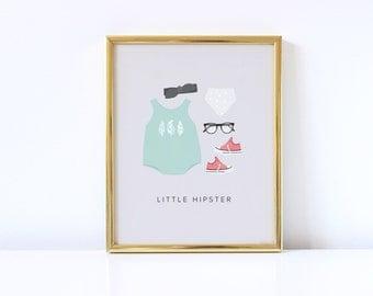 Little Girl Hipster Nursery Art Print | Nursery Art | Nursery Decor