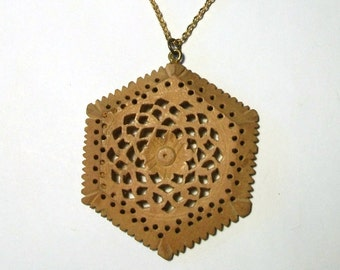 Wooden Mandala Pendant Vintage Hand Carved Wood Indian Intricate Carving Large Hexagonal