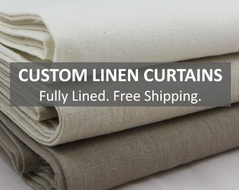 Custom Linen Curtains: FREE Shipping, Fully Lined, Six Styles - Window Curtains, Made to Measure Drapes, Window Panels