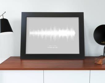 Framed Sound Wave Print Personalised Your Song and Message Dad Gift any background colour