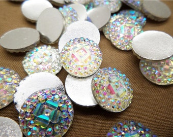Clear 12mm, Round Resin Cabochon, 12mm Cabochon, Clear AB, Sparkly Cabochons, Bling, Sparkle, Glitter, Sparkling Cabochons, 12mm Dome,