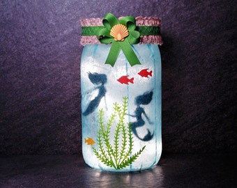 Mermaid Jar Light, Mermaid Light, Ocean Jar Light