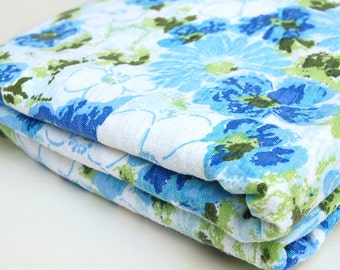 80s Sofa Bed Fitted Sheet Full/Double Blue Floral Flannelette Sofa Bed Boho/Hippie/Hipster Cotton Bedsheet Bedding Bedroom Decor Hide-a-Bed