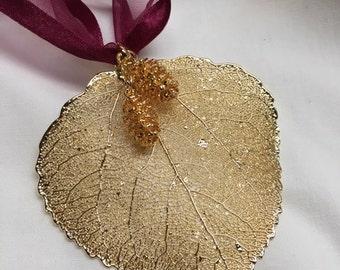 24kt Gold Aspen Leaf Ornament w/Pine Cones