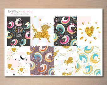 Unicorn Decorative Full Boxes Planner Stickers for Erin Condren Vertical, Mambi, The Happy Planner
