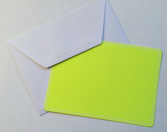 "Neon Yellow ""Just A Little Note"" postcard and envelope"