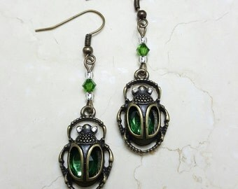 Scarab Drop Earrings, Emerald Scarabs, Antiqued Brass Beetles, Egyptian Scarabs