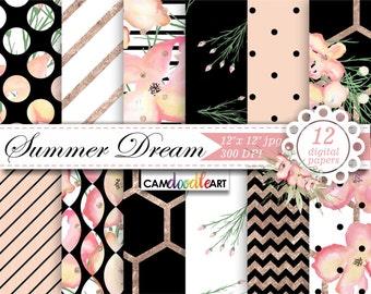 Watercolor Floral Digital Paper Pack,Pink, Black, White & Rose Gold, Romantic Paper Pattern,Scrapbooking Paper,Watercolor Flowers