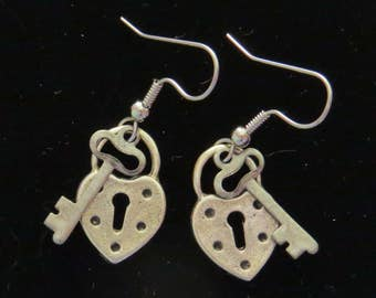 Heart & Key Earrings Oxidized Matte Silver Valentine Key to my Heart Love Valentines Day Gift Jewelry ES252