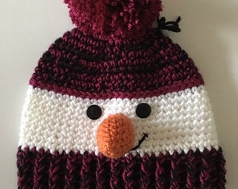 Tuque snowman Burgundy and black (adult)