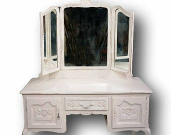 Large Ivory Painted Vintage Original Dressing Table