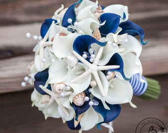 Nautical Wedding Bouquet Seashell Navy Blue Calla Lily Beach