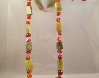 Natural Stone Jewelry Carnelian and Adventurine  Necklace, Bracelet, and Earrings