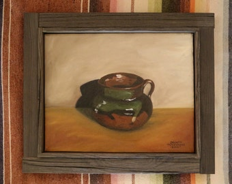 Mexican Pot with Drip original framed oil painting