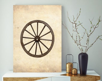 Rustic Wagon Wheel, Wagon Wheel Picture Canvas, Farmhouse Wall Decor, Rustic Wall Decor, Wagon Wheel Vintage Wall Decor, Printed on Canvas