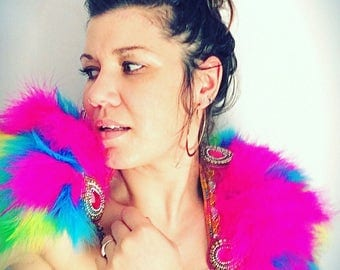 Bright pink feather festival collar, feather festival Coachella inspired epaulettes, festival feather capelet, chain and feather collar