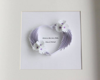 First anniversary gift, paper wall art, quilling, wedding anniversary gift, wedding wall art, unique home decor, 1st wedding anniversary