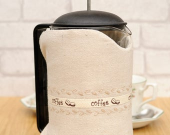 Large linen fabric thermal Cafetiere cosy housewarming coffee lover gift