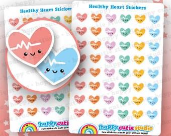 48 Cute Healthy Heart/Heatbeat/BPM/Heart Rate Planner Stickers, Filofax, Erin Condren, Happy Planner,  Kawaii, Cute Sticker, UK