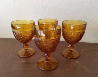 Amber Goblets. Vintage Glass Goblets. Vintage Drinkware. Wine Glasses.