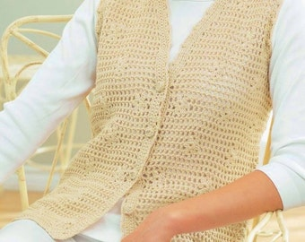 Ladies Daisy Mesh Vest, Crochet Pattern. PDF Instant Download.