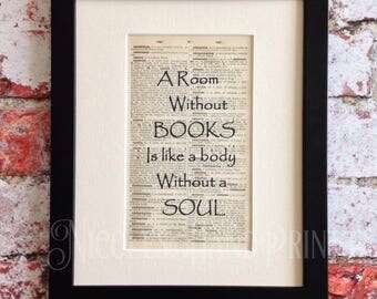 A Room Without Books..., Cicero, Latin, Quote Prints, Upcycled, Old Paper, Book Page, Book Lover Gift, Book Quotes, Prints, Ooak, Book Print